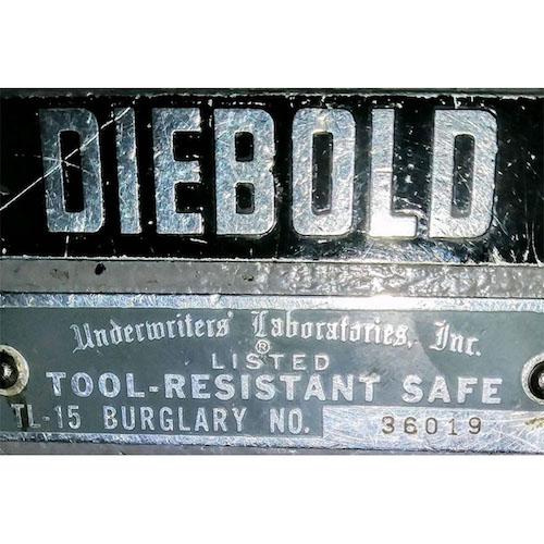 Used Diebold UL Burglar Label